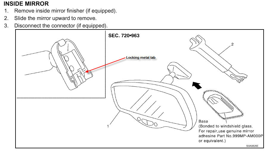 how do i install a auto dim rear view mirror in 2009 altim