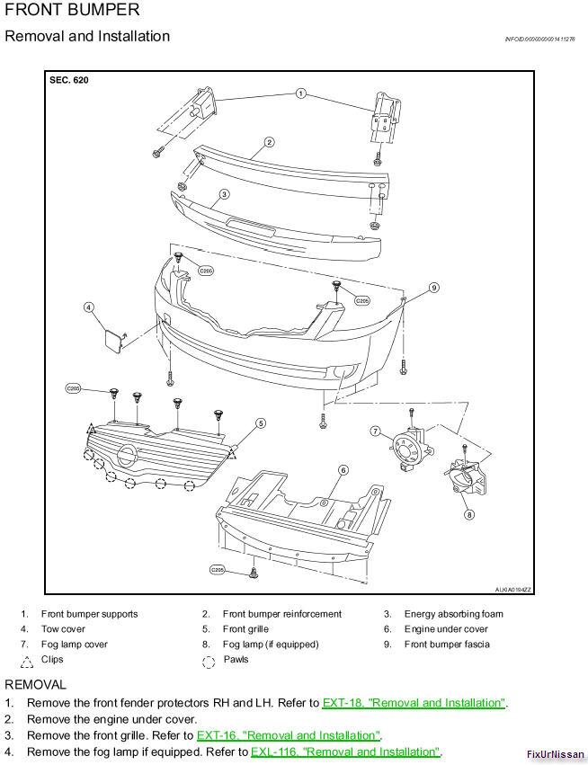 nissan an front bumper diagram  nissan  get free image