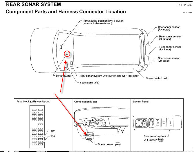 how do you install a chime  buzzzer assy  for a rear sonar