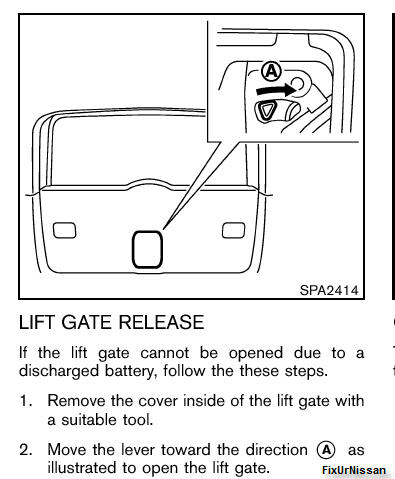 how to open boot for carkey nissan