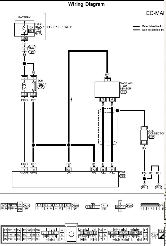 no start hot here is the wiring diagram for the maf sensor that has the ecm pin configuration so you can probe wires graphic