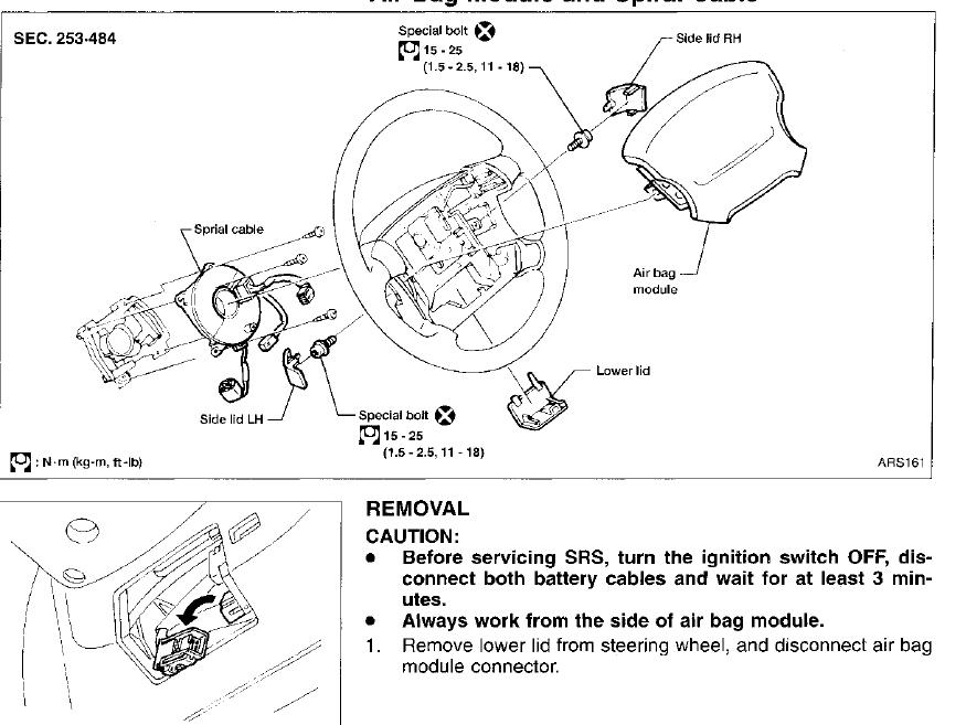 service manual  steering wheel removal 1998 nissan