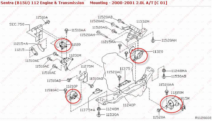 nissan sentra motor mount location