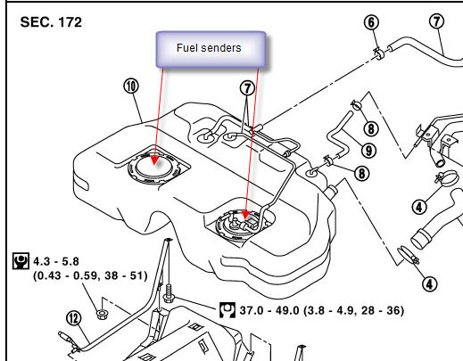 nissan altima fuel sensor location