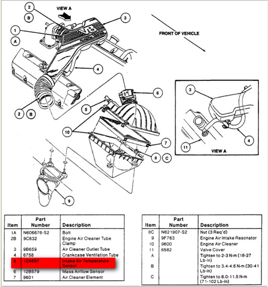 1995 thunderbird  v8  mass air flow  air flow sensor