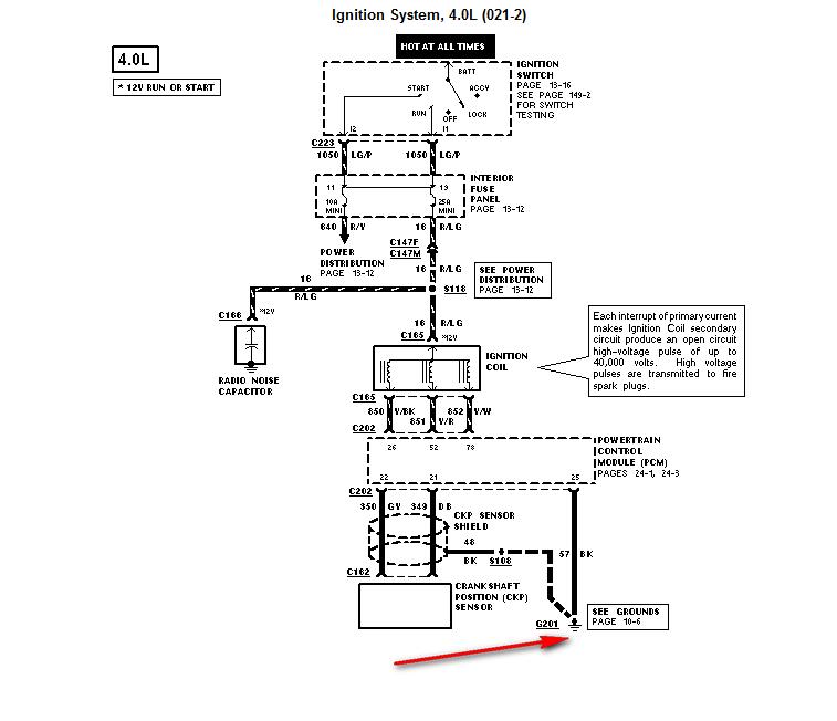 1997 Ford Explorer: Crankshaft Sensor..coil..loose Ground Wire