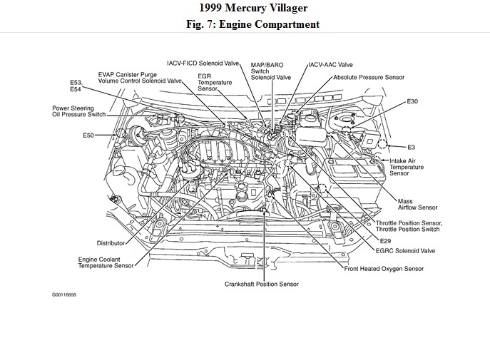 1999 mercury villager knock sensor location