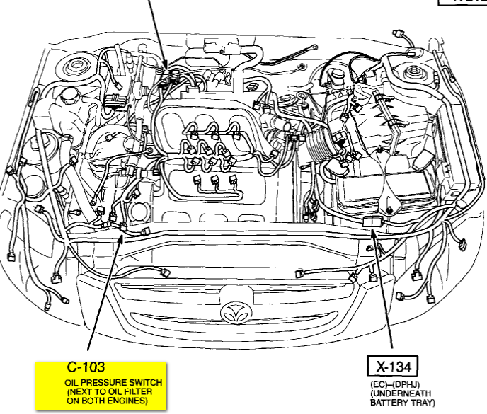 1999 Mazda Protege Transmission moreover Honda Accord88 Radiator Diagram And Schematics furthermore 1991 Mazda Miata Fuel Pump Relay Location moreover Chrysler 3 6 Cam Sensor Location Diagram furthermore Mazda 626 Fuel Pump Location. on 04 mazda tribute fuse box