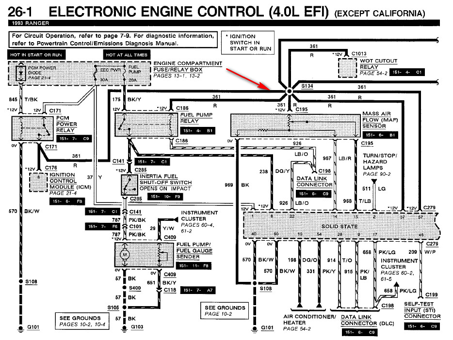 Ford My 1992 Ford Ranger Eec 30 Amp Fuse Blows As You Turn