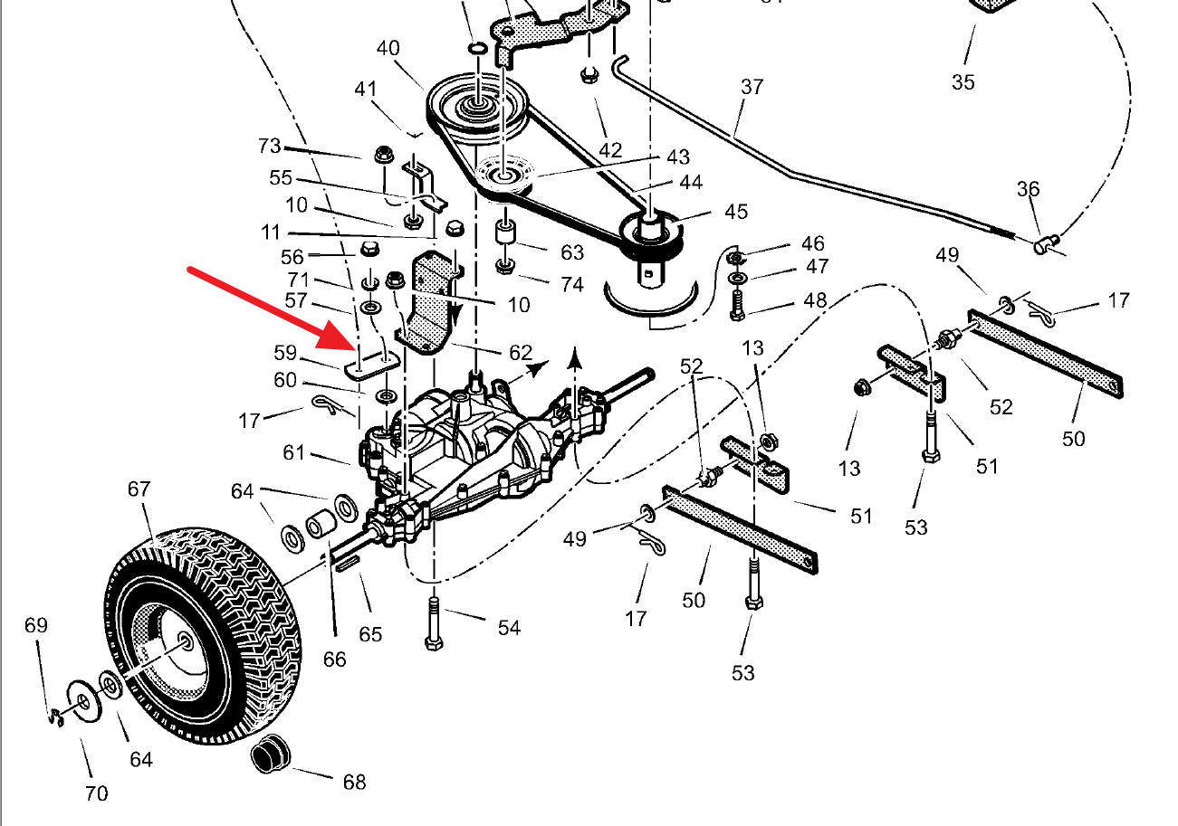 Sabre 1646 Lawn Tractor Wiring Diagram also 5zdsj Broke Uppeer Drive Belt Mowing Deck Mtd 46 Ride in addition Electric Pto Clutch Wiring Diagram further 12h294 furthermore Drive Belt Replacement Scotts 2046h 368359. on john deere lawn mower brake adjustment
