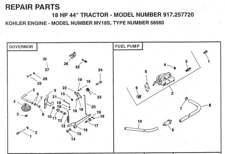 craftsman hp kohler fuel pump location on kohler fuel filter  craftsman 94 model garden tractor 18 hp kohler twin wont