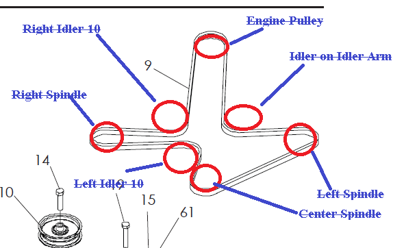 dixon ztr deck belt diagram