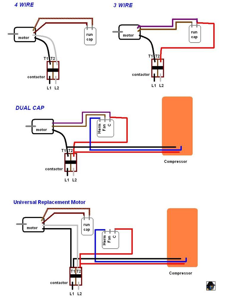 3 wire motor capacitor wiring diagram