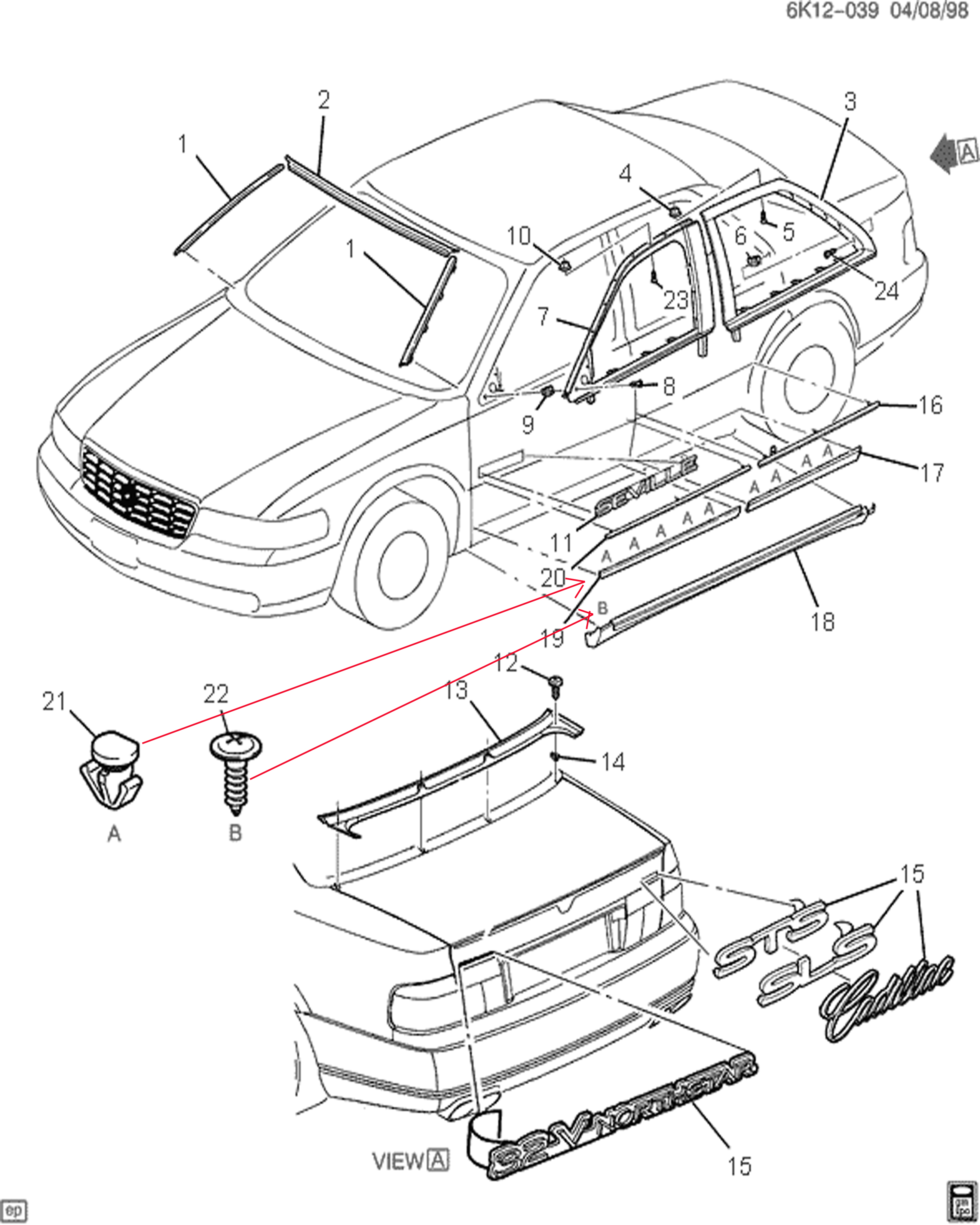 cadillac catera door diagram