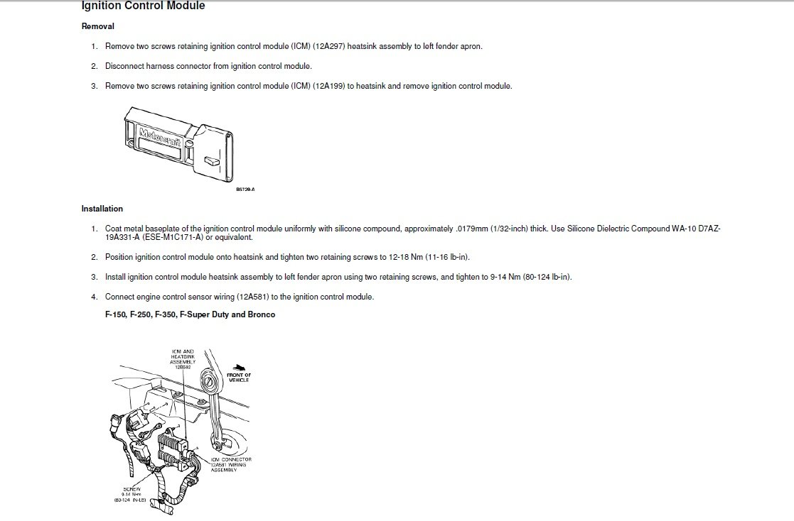 where on the 1995 f150 5 0 engine is the ignition module located graphic