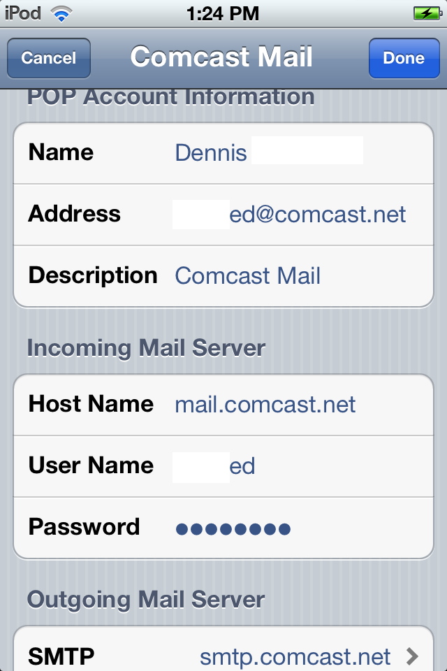 how do i sync my comcast email to my iphone