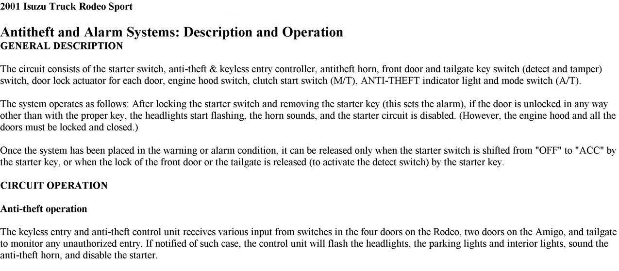 Alarm on 2001 Isuzu Rodeo Starter