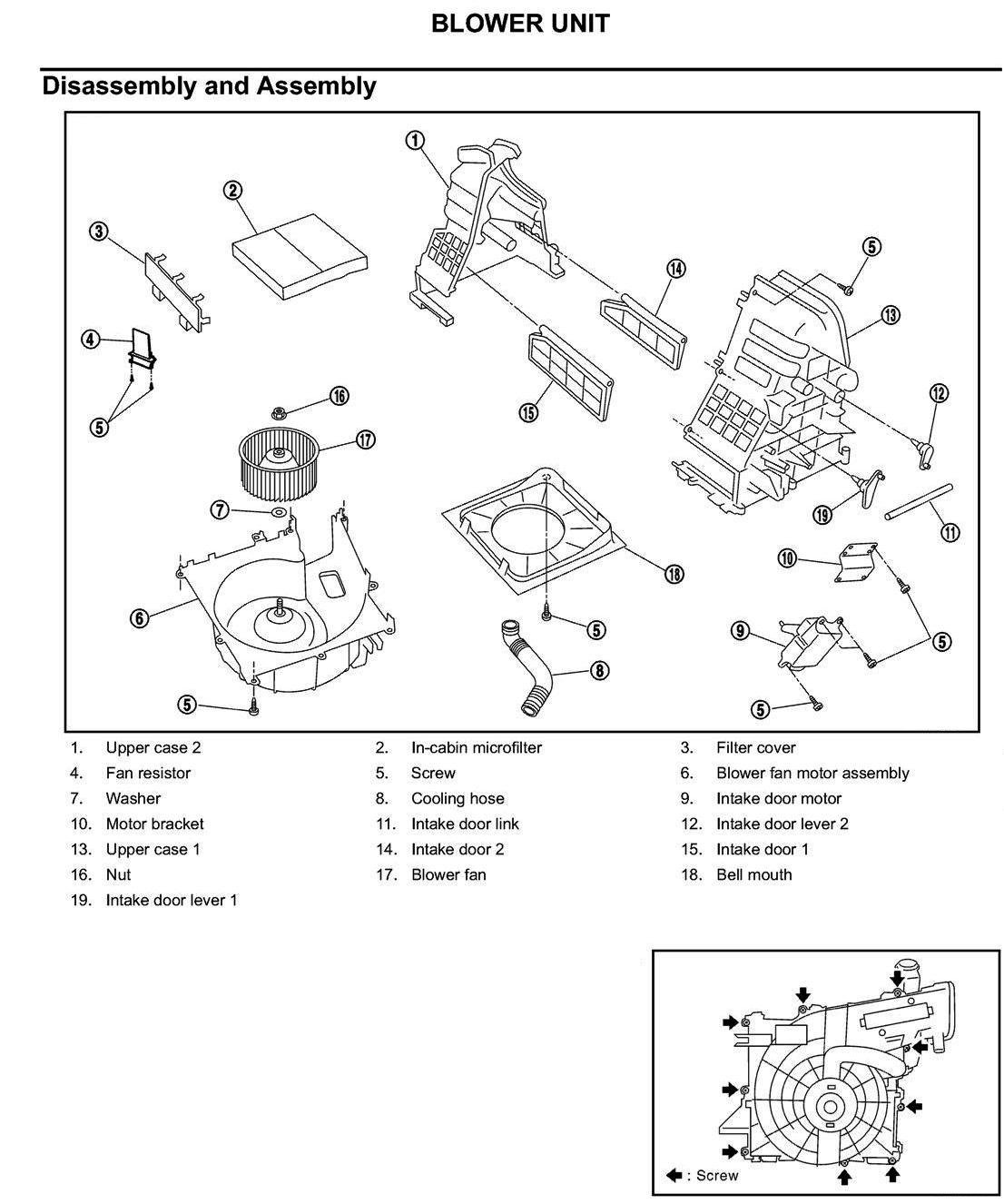 How Do I Remove Fan Blower Unit From 2003 Nissan Xtrail
