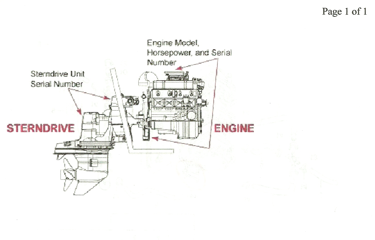 i just bought a mercruiser alpha boat we have a problem here is the engine serial number location graphic