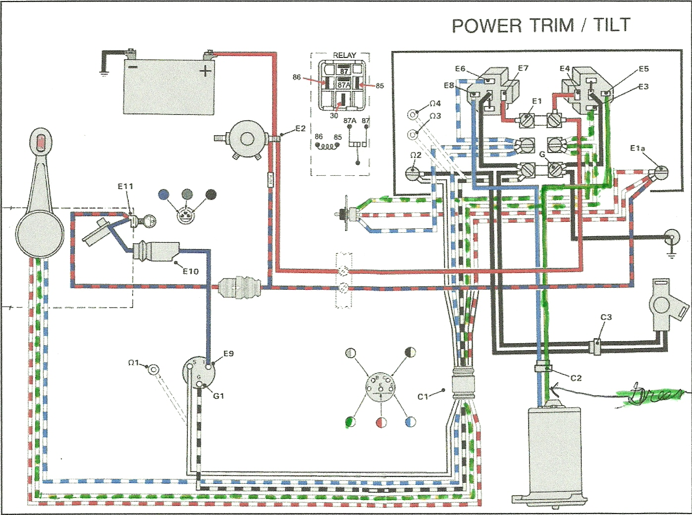i bought a two wire power tilt unit for my 1990 50 horse evinrude here is a diagram of the relay circuit for evinrude 2 wire motor graphic