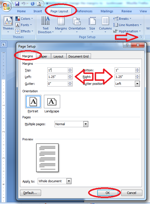 how to change margins on words