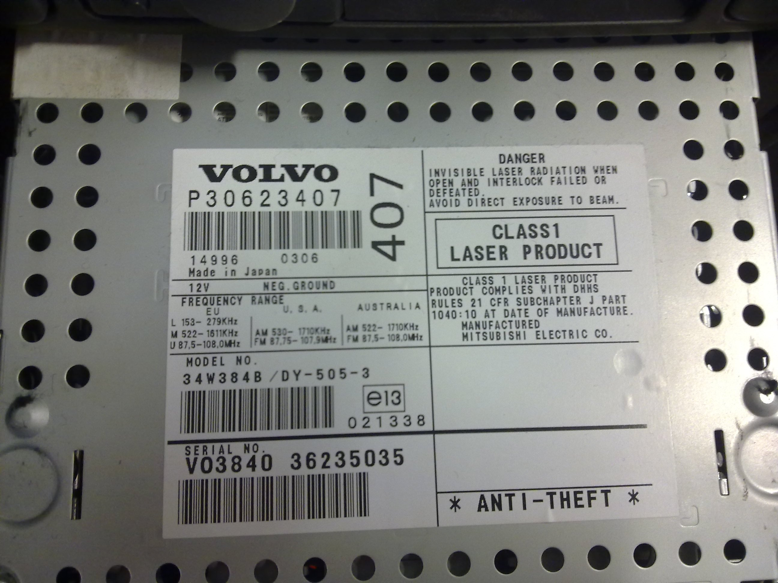 On a 2001 Volvo S40 Radio Codes