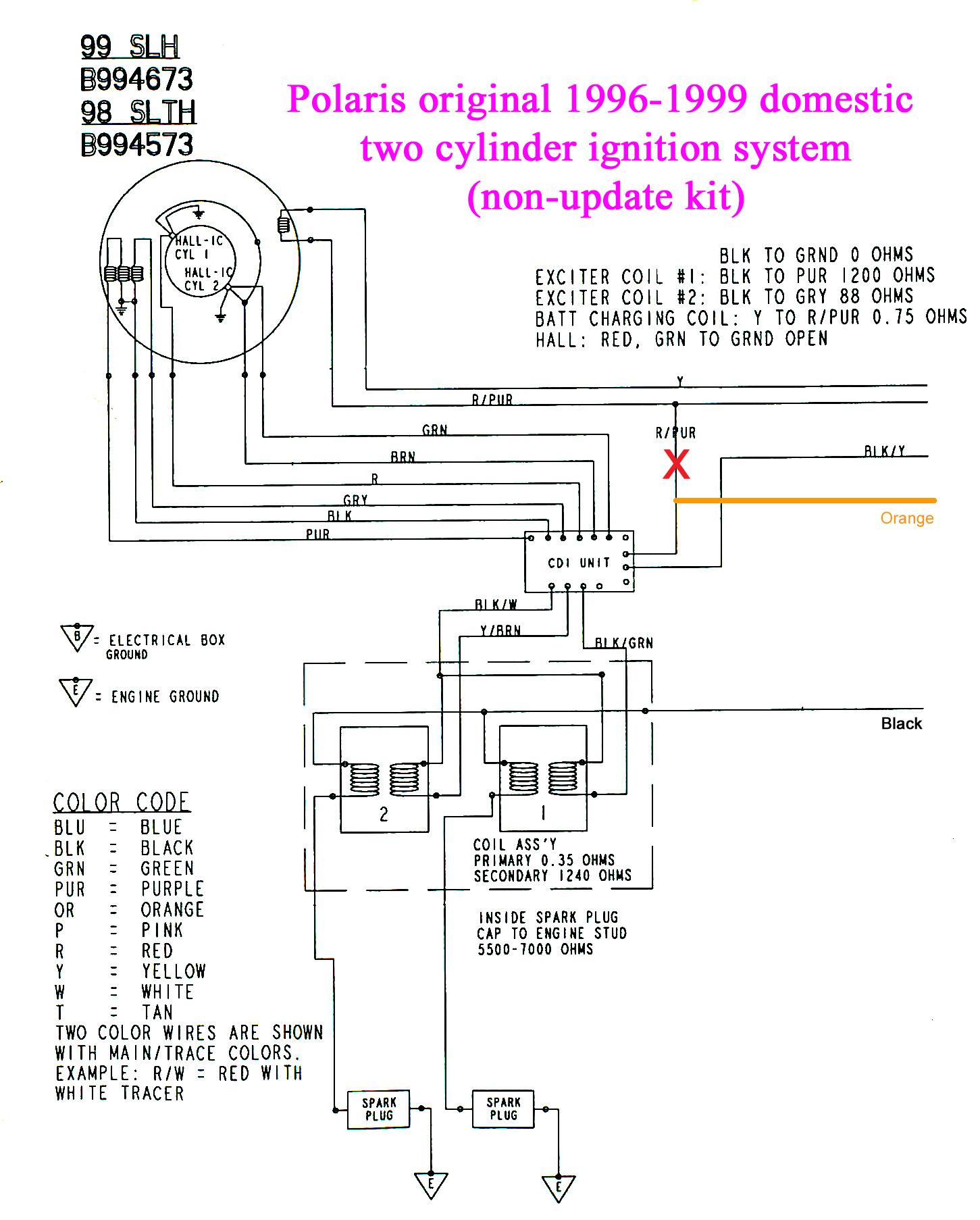 97 polaris slt 700, intermittent spark, not the batt ... polaris magnum 425 cdi box wiring diagram #5