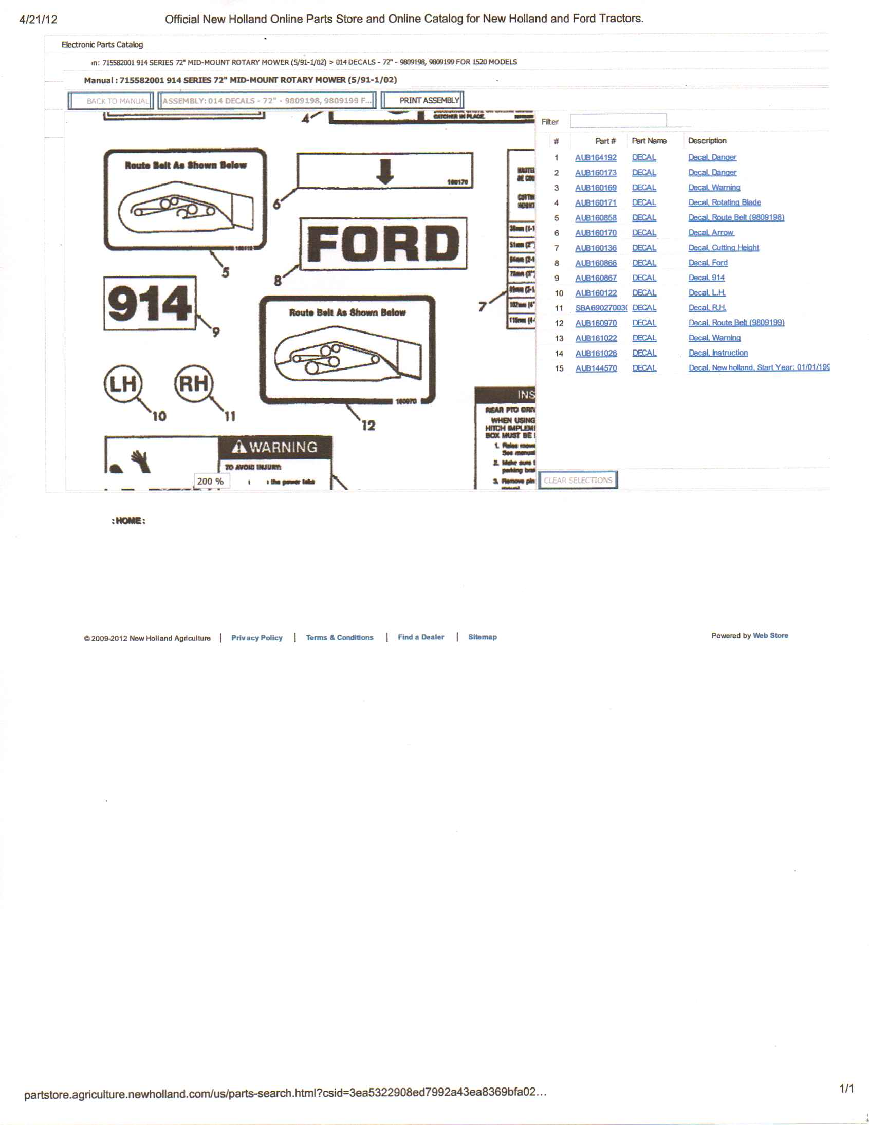 Ford 914 Mower Blades : Ford mower deck belt routing