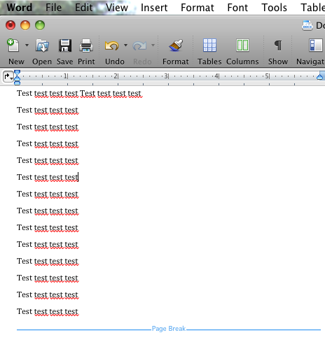 how to delete page break continuous in word mac