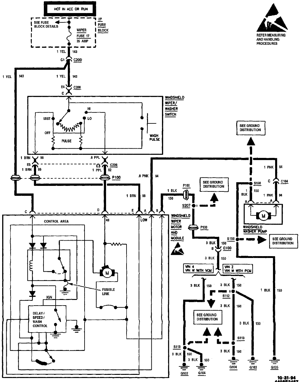 97 chevy s10 wiper motor schematic