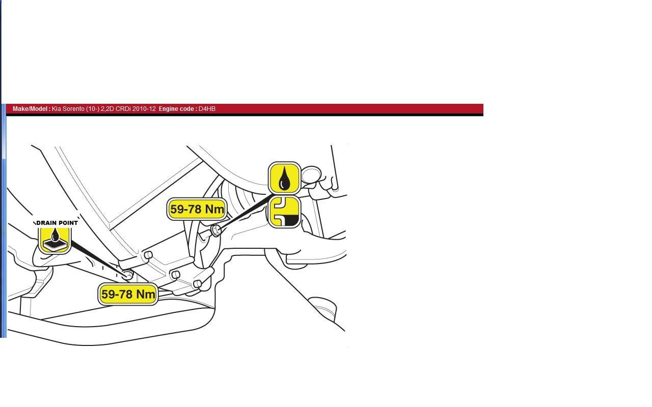 kia sorento oil drain plug location