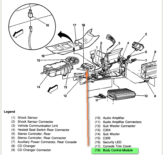 cadillac body control module location