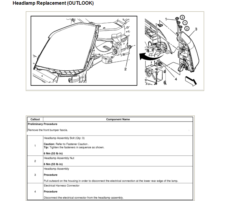 Service Manual [Remove Assembly Headlight 2009 Saturn