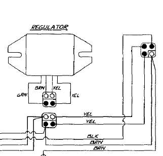 89 jag electric start headlight brake light blow low beam the non electric start regulator should have two wires the electric start version should have four
