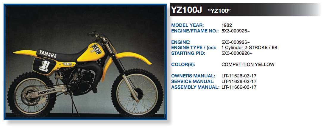 Have yamaha dirt bike vin 5x3 000959 what year and for Yamaha motorcycle vin
