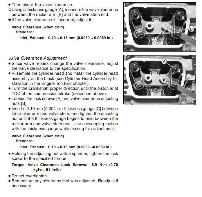 Kawasaki  Hp Valve Adjustment