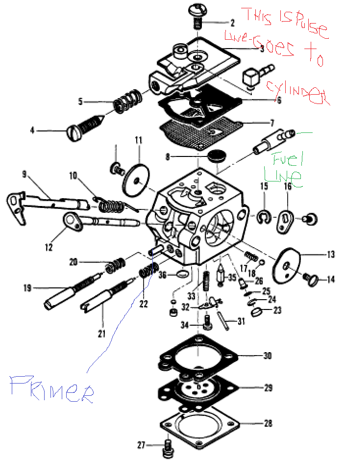 walbro carburetor fuel line routing