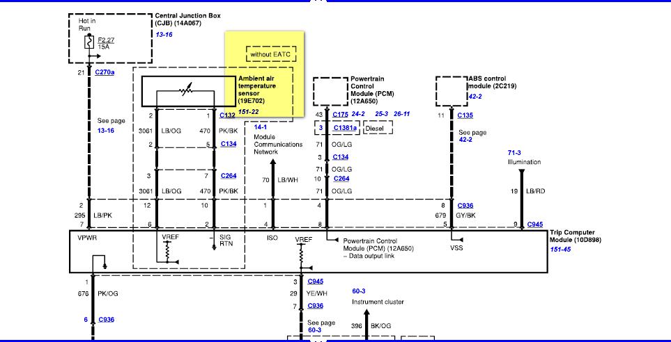 ambient air temperature sensor location ford excursion