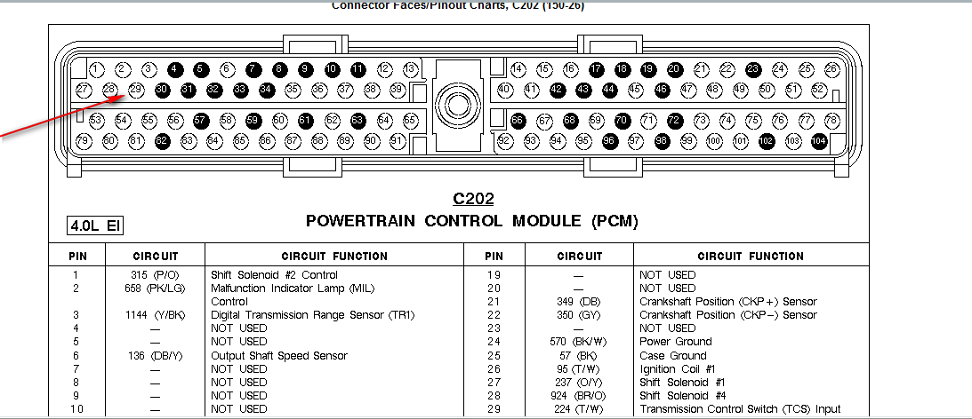 2001 ford ranger 3 0l pcm pin diagram