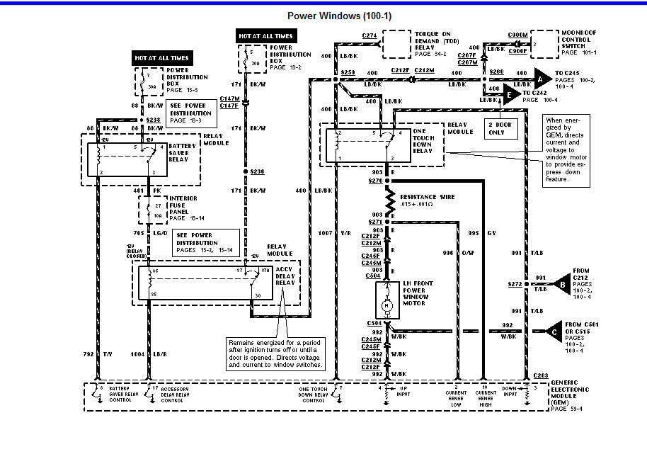 were is the window control relay located on a 1996 ford explorer