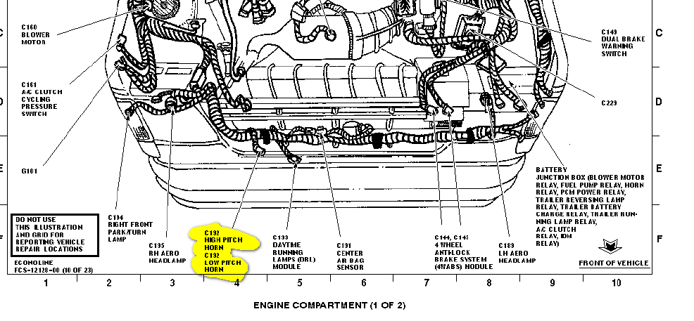 2000 ford f250 horn location