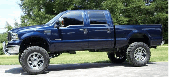 Will 40 14 5 r17tires with 10inch wheels fit under a 2005 f250 desiel superduty with a 8in