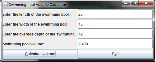 Swimming Pool Volume Calculator The Table Needs To Include 1 Form Title Swimming Pool Volume