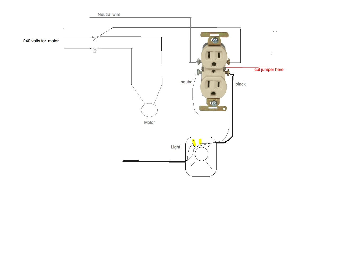 how does one connect an 120volt outlet using a well pump pressure switch with 230v  wire is 12