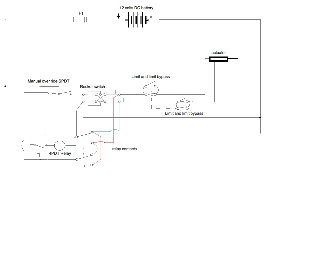 i need a wiring diagram for a 12v application all components here is a final i hope version let me know of any other issues you see i need your input teh spdt over ride will work there nicely
