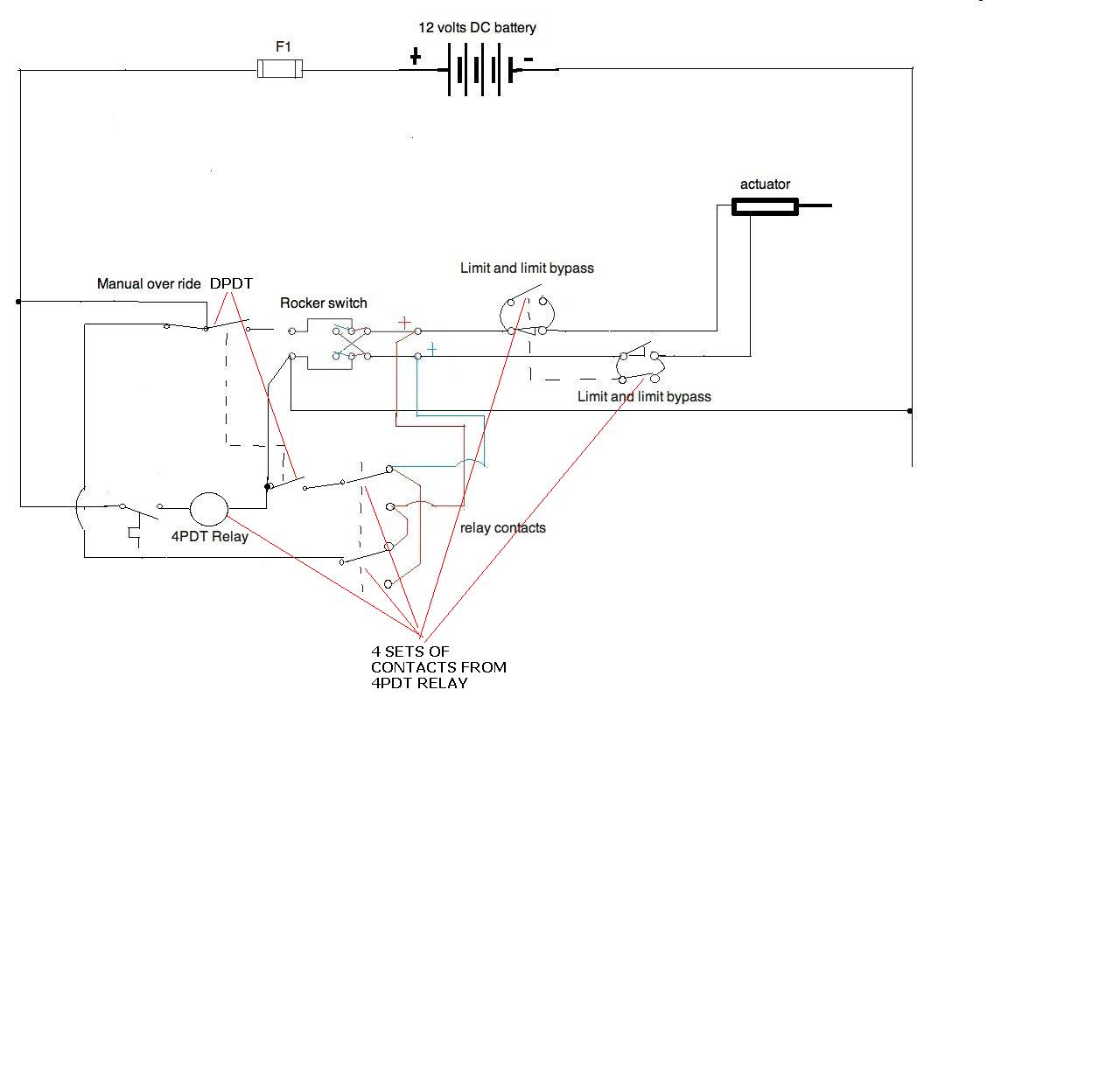 i need a wiring diagram for a 12v application all components here is the isolation for the manual overide circuit too use a dpdt instead of single pole