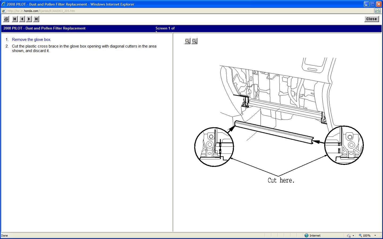 How to replace cabin air filter 2008 honda pilot?