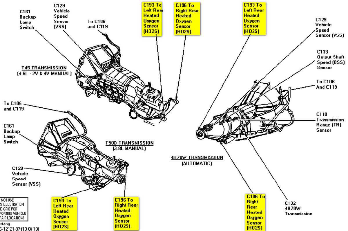 1999 ford contour o2 sensor wiring diagram 97 mustang base v6 where are the heated oxygen sensors