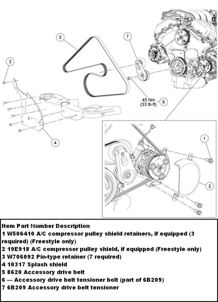 for a ford 500 wiring diagram how do you replace the serpentine belt on a ford five ... ford 500 engine diagram