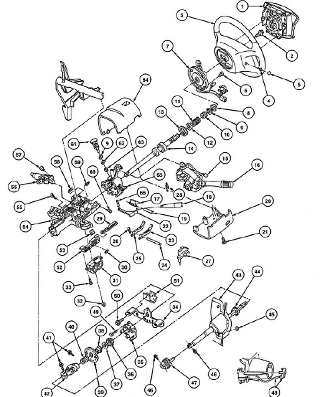 1997 ford ranger steering column diagram
